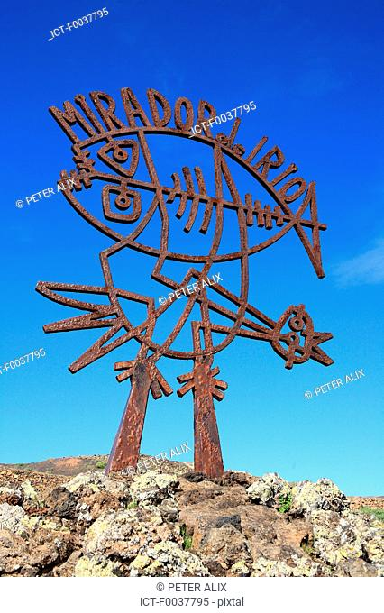 Spain, Canary islands, Lanzarote, Mirador del Rio, sculpture