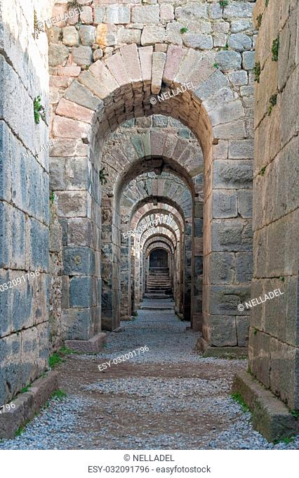 the ruins of the ancient Greek city of Pergamon, ancient arches