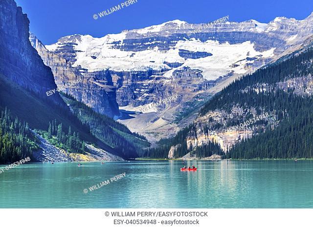 Lake Louise Canoes Leroy Glaciers Reflection Snow Mountains Banff National Park Alberta Canada