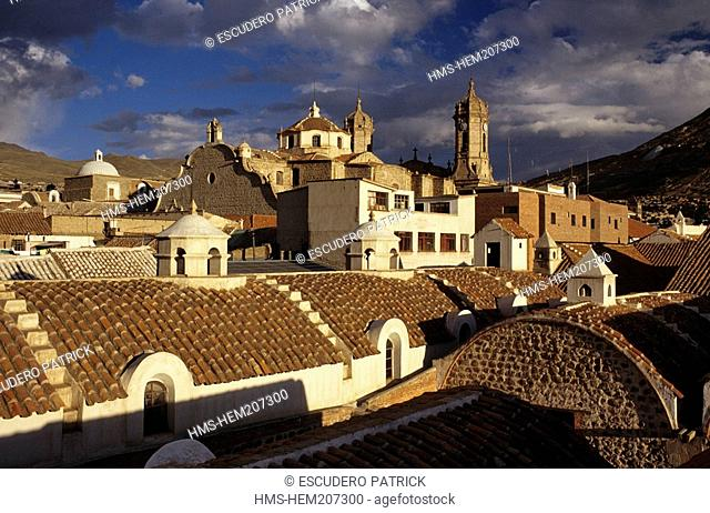 Bolivia, Potosi department, Potosi province, Potosi, town listed as World Heritage by UNESCO, panorama of the town from the rooftop of Casa de la Moneda