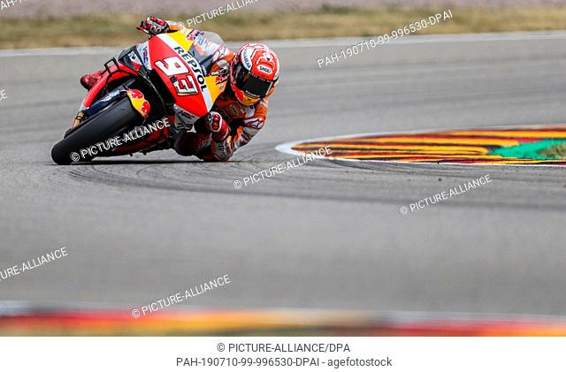 07 July 2019, Saxony, Hohenstein-Ernstthal: Motorsport/motorbike, Grand Prix of Germany, MotoGP at the Sachsenring: Rider Marc Marquez (Spain
