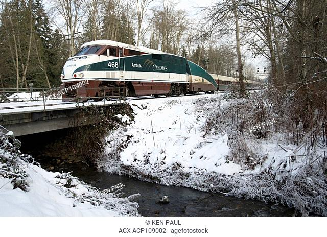 Amtrak Cascades train crossing Eagle Creek in Burnaby, British Columbia, Canada
