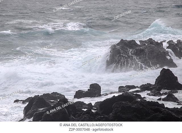 Storm over Termas de Ferraria in Sao Miguel island, Azores, Portugal