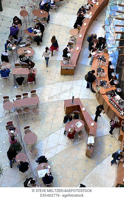 View of Food Court restaurant area of Seattle's high end downtown shopping center Pacific Place. Washington, USA