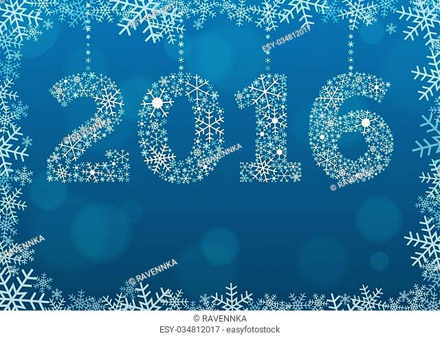 2016 text made of snowflakes on background with bokeh effect and enough copyspace for you text