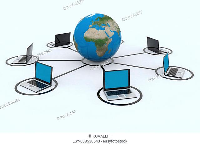 Concept of network connections. 3D render image