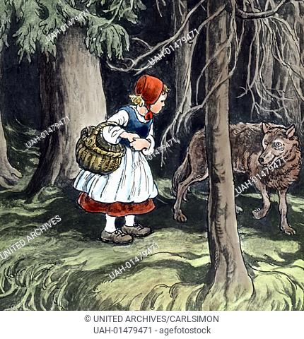 Grimm Brothers - Fairy Tales - Little Red Riding Hood. Image date circa 1910. Carl Simon Archive