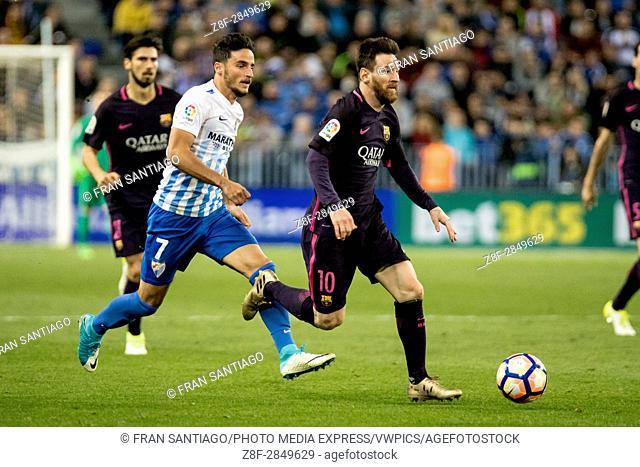 Lio Messi. La Liga Santander match day 31 game between Malaga CF and FCBarcelona played in La Rosaleda Stadium, Malaga, Spain