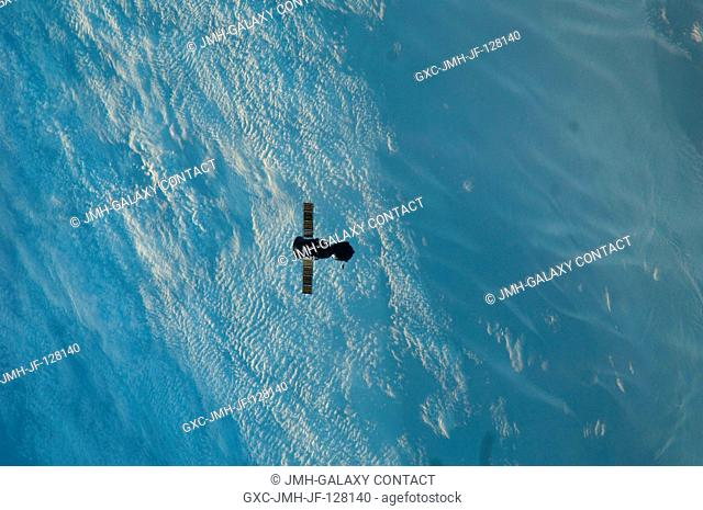 The Soyuz TMA-22 spacecraft departs from the International Space Station and heads toward a landing in a remote area outside of the town of Arkalyk, Kazakhstan