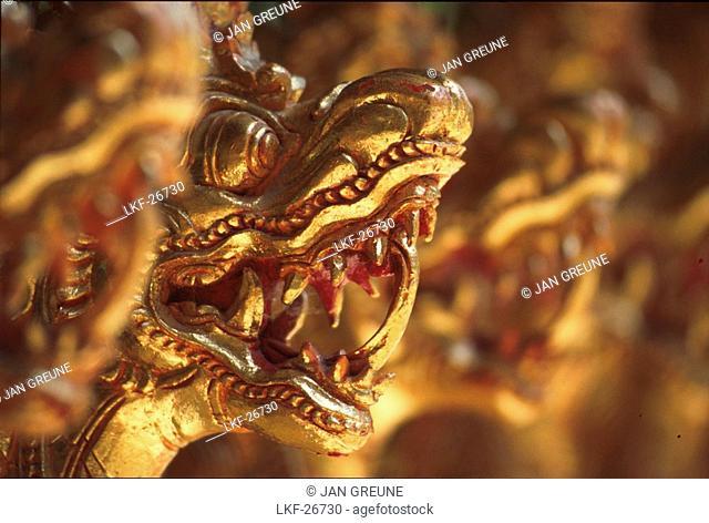 Close up of dragon heads, Gamelan instrument, Bali, Indonesia