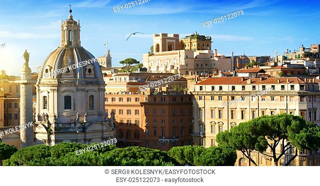View on basilica and statue on Trajan Forum in Rome, Italy