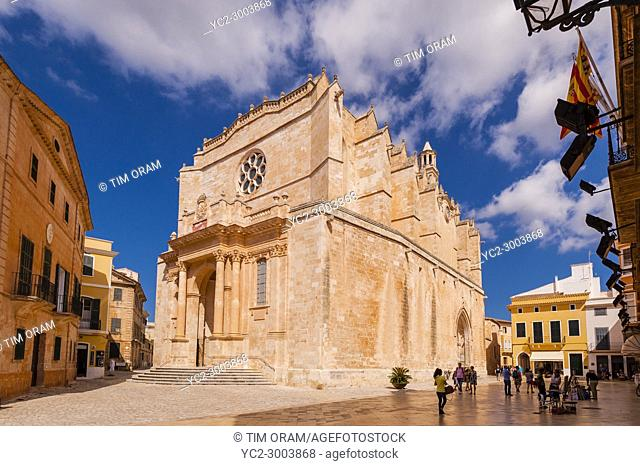 The Cathedral in Ciutadella de Menorca , Menorca , Balearic Islands , Spain