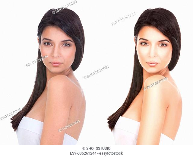 a beauty portrait of a young woman, shot on white background. she looks over her shoulder, straight to the camera before and after retouching