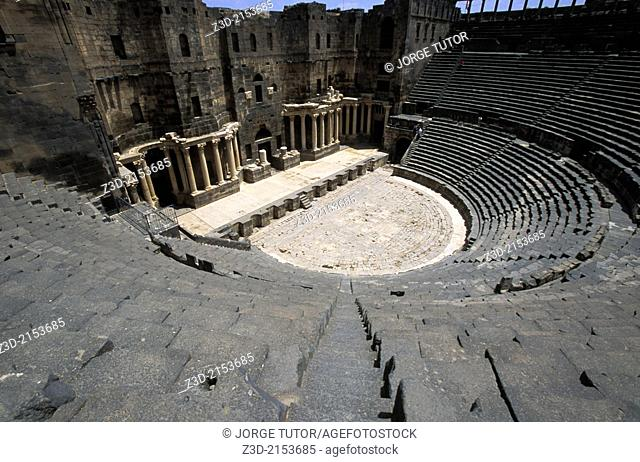 Roman Theatre at Bosra inside citadel. Ancient City of Bosra, UNESCO World Heritage Site. Syria