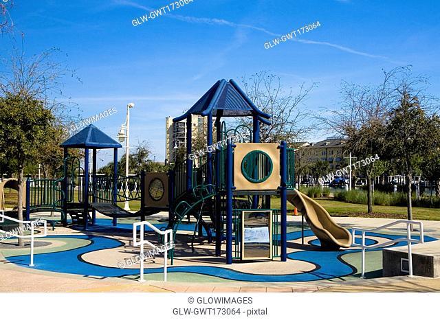 Slides in a park, Cotanchobee Ft  Brooke Park, Tampa, Florida, USA