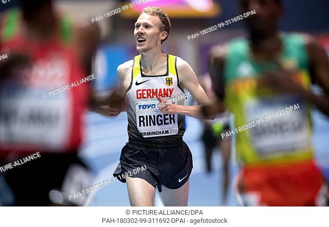 02 March 2018, Great Britain, Birmingham: IAAF World Indoor Championships in Athletics, men's 3000m: Richard Ringer of Germany in action during the pre-run
