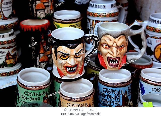 Mugs with Dracula designs in a souvenir shop at Bran Castle, Bran, Bra?ov County, Transylvania, Romania