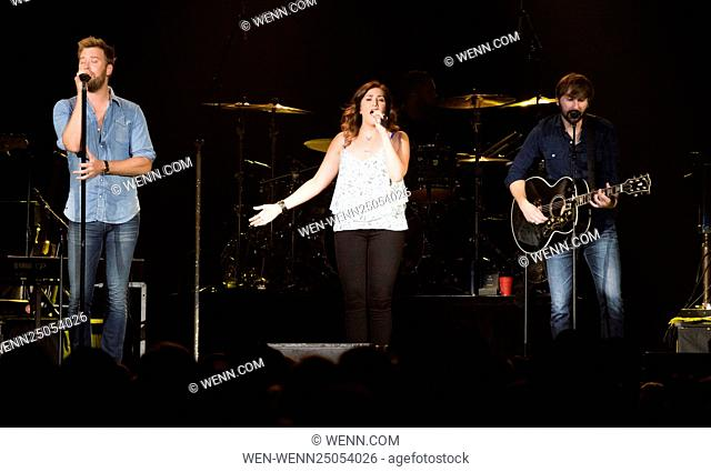 Lady Antebellum performing at Scotiabank Saddledome in Calgary Featuring: Hillary Scott, Dave Haywood, Charles Kelly Where: Calgary