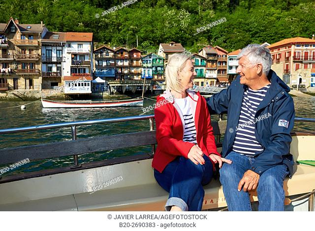 Senior couple, 60-70, Sailing Boat, Port of Pasaia, Pasajes San Juan, Pasai Donibane, Gipuzkoa, Basque Country, Spain, Europe