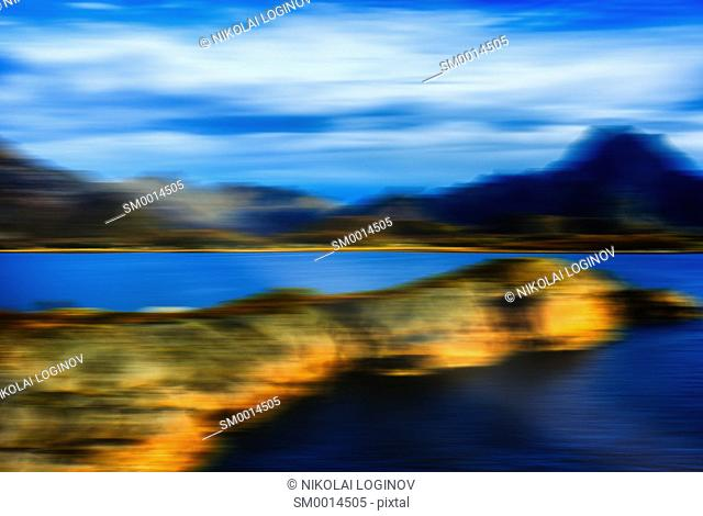Norway gulf fjord horizontal landscape abstraction