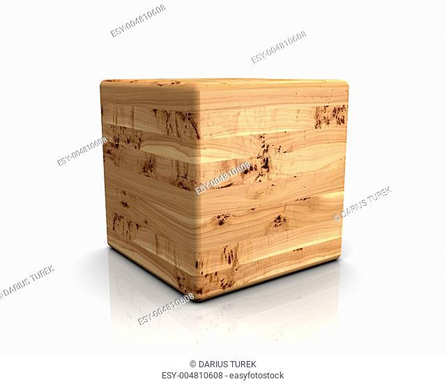 3D Holzwürfel abgerundet - Pappel Maser
