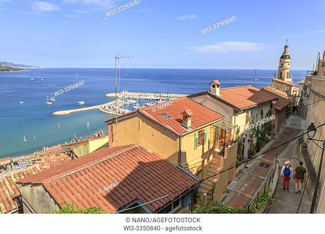 France, Alpes Maritimes, Menton, view on the houses in the old town and Mediterranean Sea