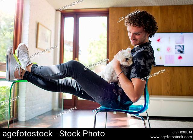 Young man petting dog in home office