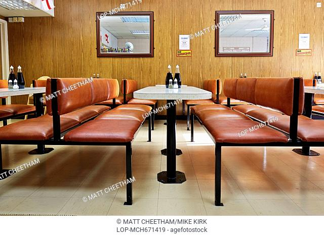 Interior of Nathans Pies and Eels Restaurant in Upton Park in East London
