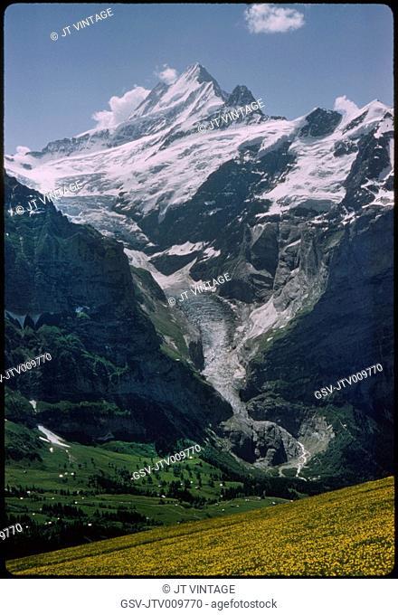 Schreckhorn Peak and Glacier, Grindelwald, Switzerland, 1964