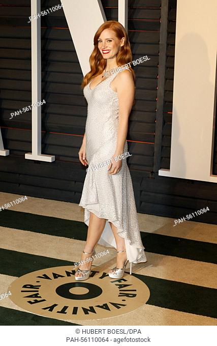 Actress Jessica Chastain attends the Vanity Fair Oscar Party at Wallis Annenberg Center for the Performing Arts in Beverly Hills, Los Angeles, USA