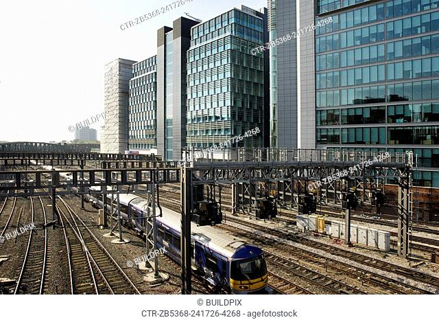 Great Western train route passing 'Paddingtoncentral', a mixed office and residential development, London, UK