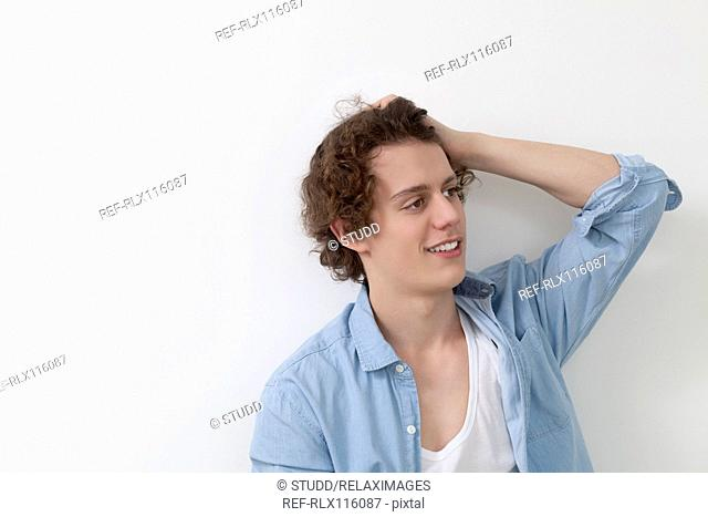 Side profile of smiling teenager