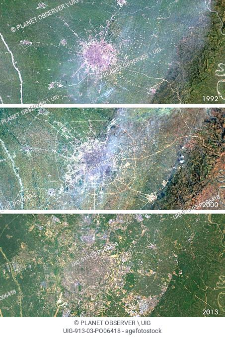 Satellite view of Chengdu, China in 1992, 2000 and 2013. This before and after image shows urban expansion over the years