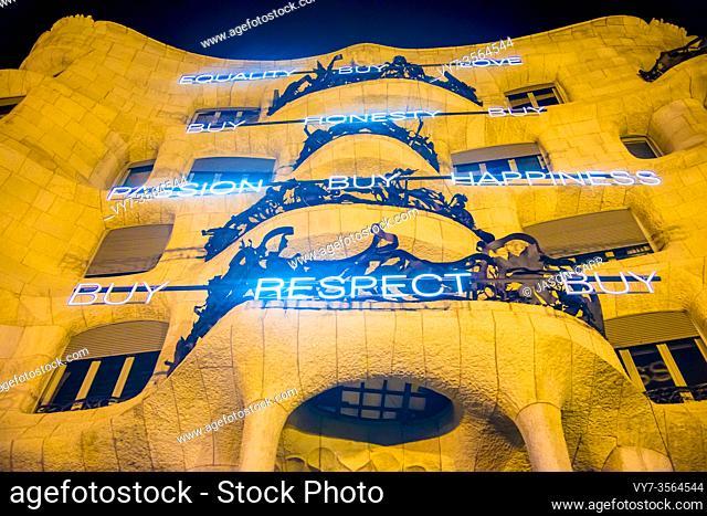 BARCELONA, SPAIN - December 24, 2018: Casa Milà located in Barcelona, Spain. Barcelona is full of unique architectures by a Spanish artist Antoni Gaudi