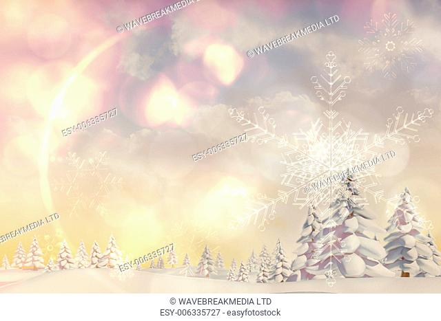 Digitally generated snowy landscape with fir trees