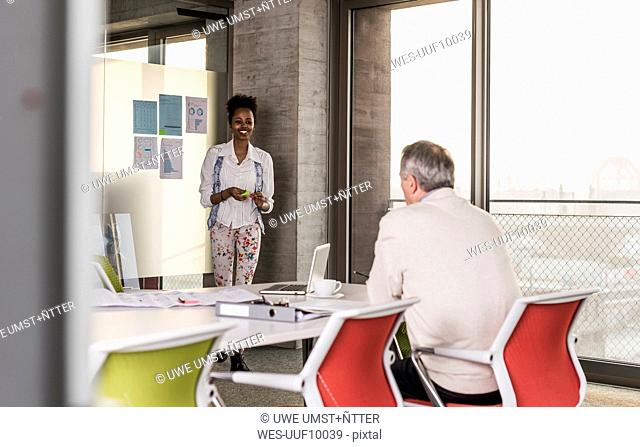 Woman leading a presentation in office