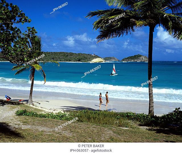 Sailing off the beach at Half Moon Bay on Antigua