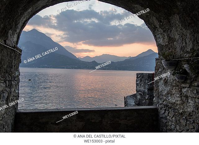 Sunset in Varenna village in Como lake Lombardy Italy