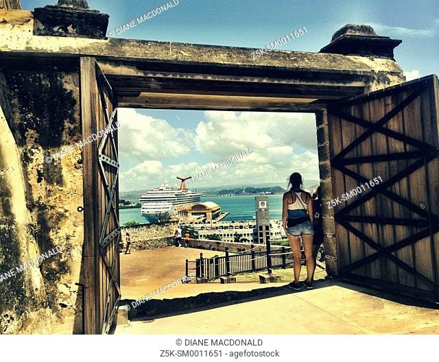 Looking down on the harbor at San Juan, Puerto Rico from a gate at Castillo de San Cristobal, a fort built by Spain and completed in 1783