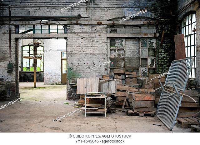 Val Saint Lambert, Belgium. Left behind wooden boxes, crates and other items in an abandoned factory for luxurious crystal products