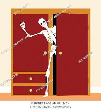 EPS8 editable vector concept illustration of a skeleton waving from a cupboard or closet