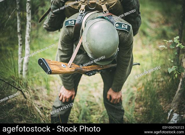 SVETLAHORSK, BELARUS - JUNE 20, 2014: Unidentified re-enactor dressed as German soldier during events dedicated to 70th anniversary of Soviet Belorussian...