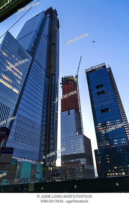Manhattan, New York City. West Side Construction Site of Four Tall Buildings