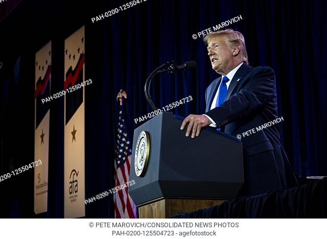 United States President Donald J. Trump delivers remarks at Values Voter Summit at the Omni Shoreham Hotel on October 12, 2019 in Washington, DC