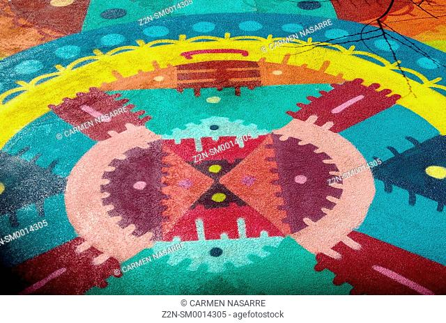 Graffiti with colorful mandala