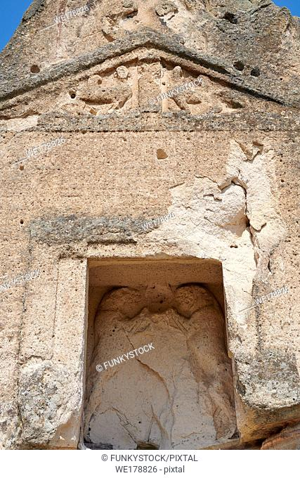 close up of the facade and relief sculptures of the Phrygian temple of Aslankaya, 7th century BC. Phyrigian Valley, Emre Lake, near Doger, Turkey