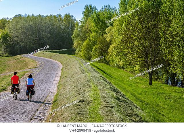 Cyclists doing the Loire a Velo at Villandry, Indre-et-Loire Department, Centre-Val de Loire Region, Loire valley, France, Europe