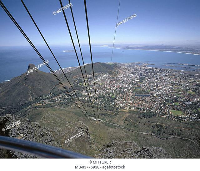 South Africa, cable railway, gaze, mesa,  1086 m, Cape town, rope, detail,  Africa, westerns Cape province West-Kap Cape Town mountain landmarks, destination