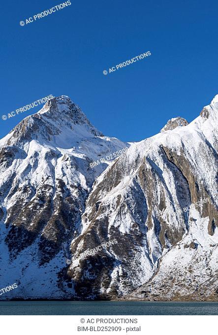 Snow on mountain range
