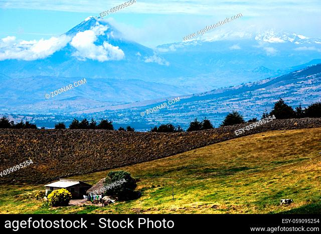 Tungurahua and Altar Volcanoes dominate the plateau, Cordillera Occidental of the Andes of central Ecuador, South America